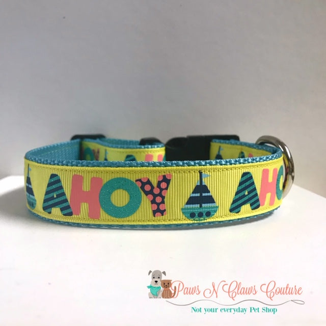 "1"" Ahoy Dog Collar"