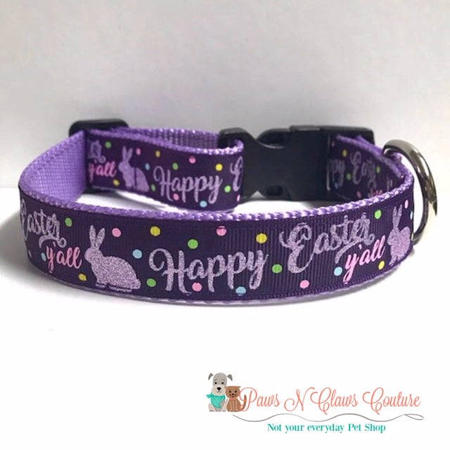 "1"" Happy Easter Ya'll on Purple Dog Collar - Paws N Claws Couture"