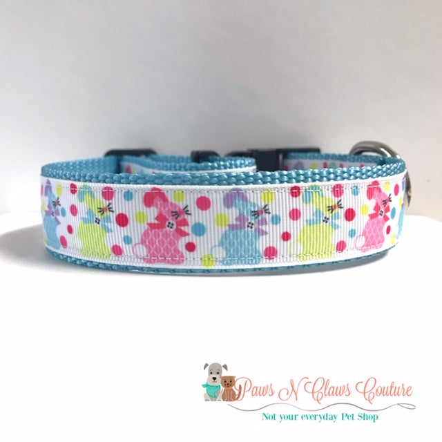 "1"" Plaid Bunnies Dog Collar"