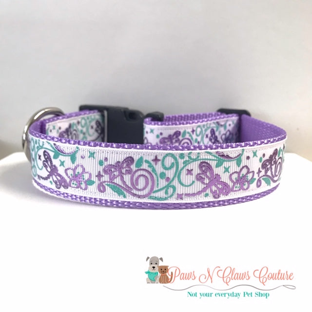 "1"" Purple Dragonflies Dog Collar - Paws N Claws Couture"