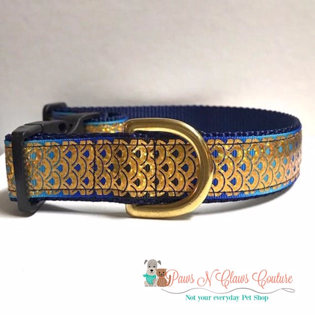 "1"" Gold Foil Fish Scales on Navy Dog Collar"