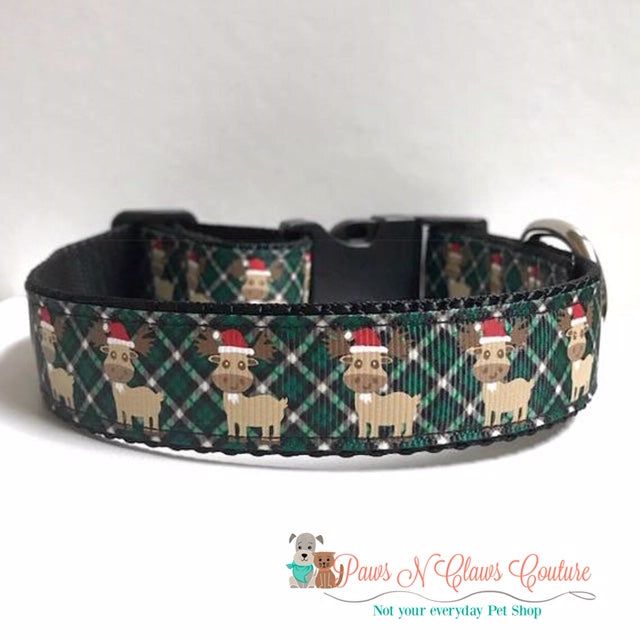 "1"" Santa hat Moose on Green Plaid Dog Collar"