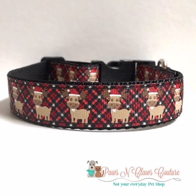 "1"" Santa hat Moose on Red Plaid Dog Collar"