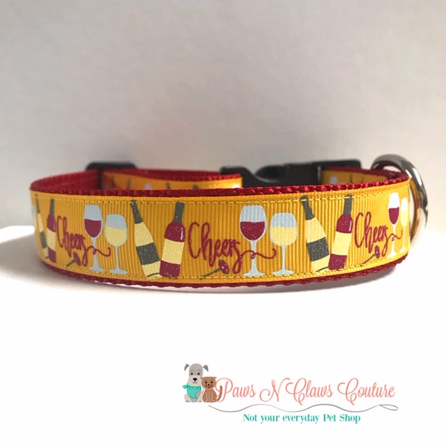 "1"" Cheers, Wine Glasses Dog Collar - Paws N Claws Couture"