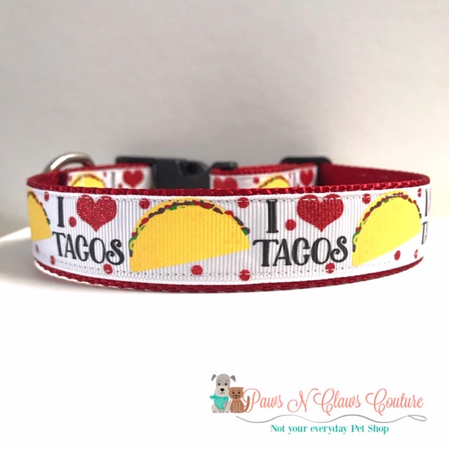 "1"" I love Tacos Dog Collar"