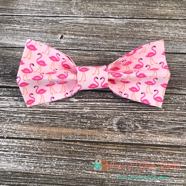Flamingos on Pink Bow Tie - Paws N Claws Couture