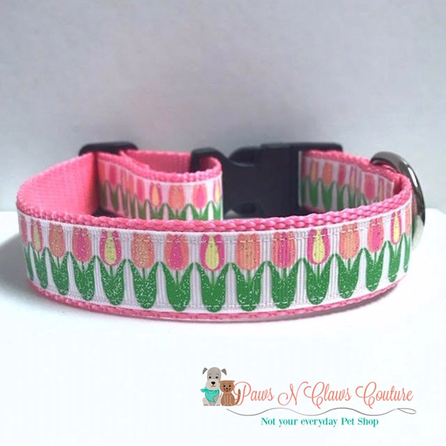 "1"" Glitter Spring Tulips Dog Collar - Paws N Claws Couture"