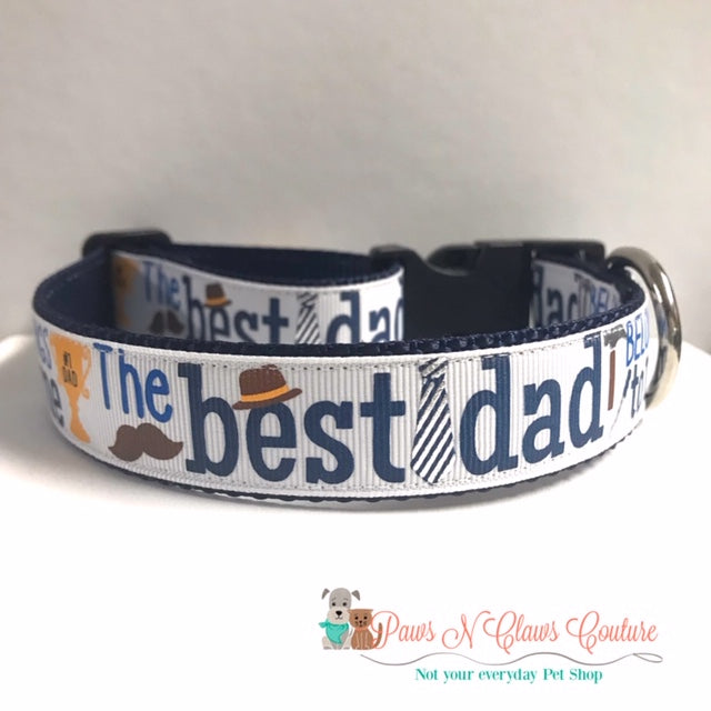 "1"" Best Dad or Daddys Helpers Dog Collar - Paws N Claws Couture"