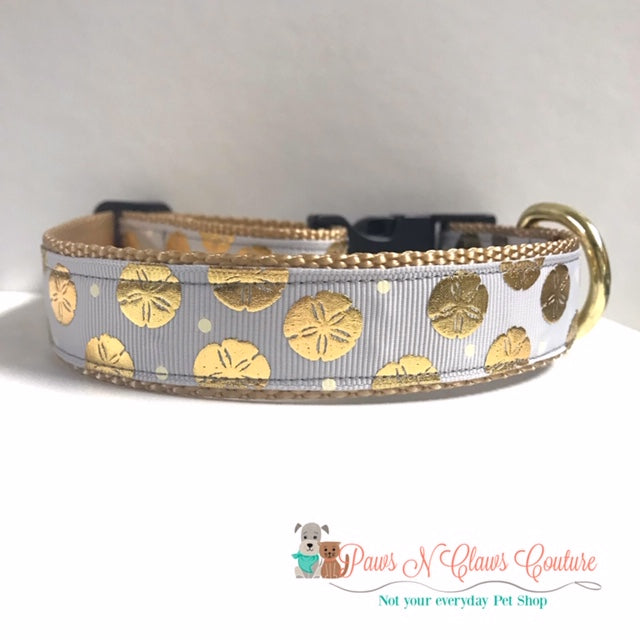 "1"" Sand dollar Dog Collar - Paws N Claws Couture"