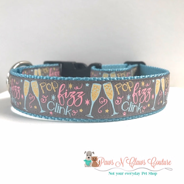 "1"" Pop, Fizz, Clink Dog Collar - Paws N Claws Couture"