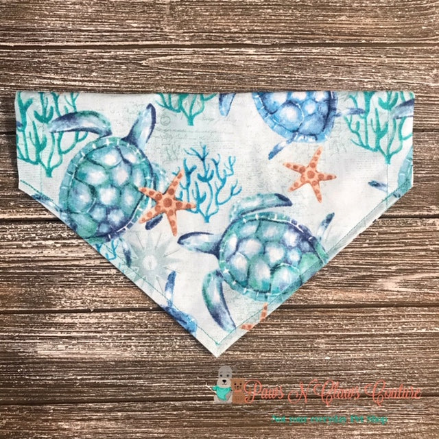 Reversible Sea turtle and Sea Star Bandana