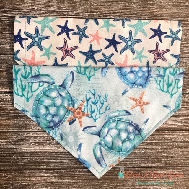 Reversible Sea turtle and Sea Star Bandana - Paws N Claws Couture