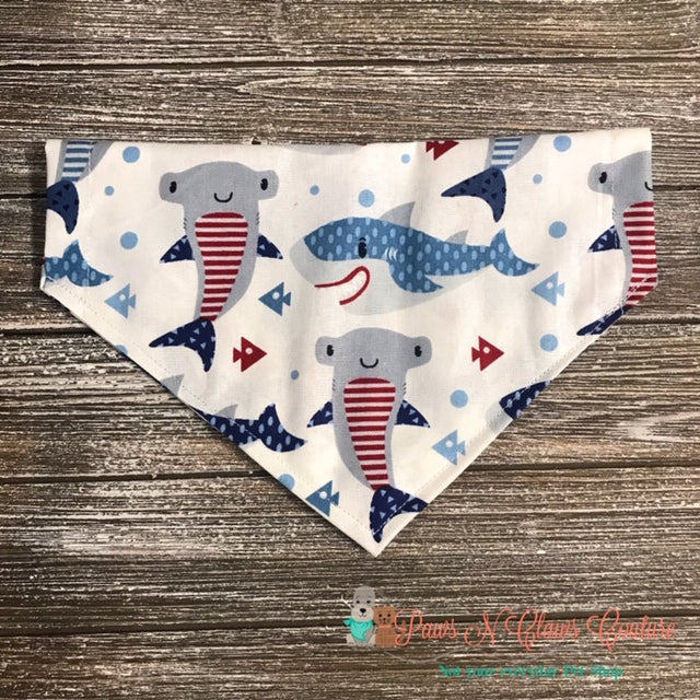 Red, White and Blue Sharks Bandana - Paws N Claws Couture