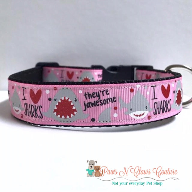 "1"" I love Sharks, There Jawsome on Pink Dog Collar"