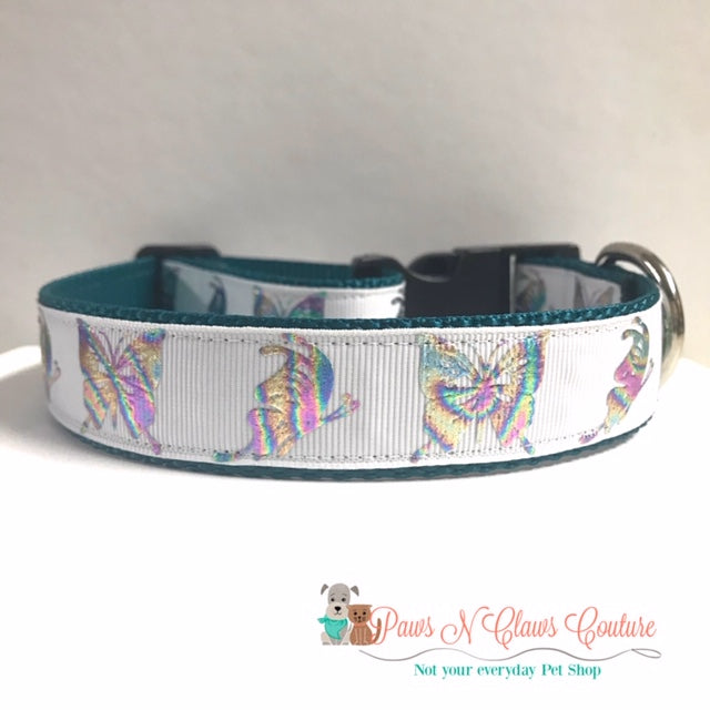 "1"" Teal and Foil Butterfly Dog Collar - Paws N Claws Couture"