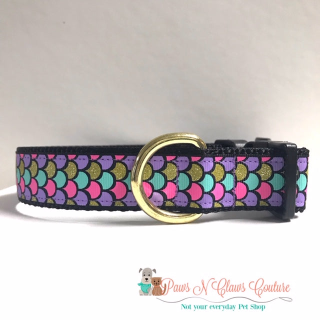 "1"" Scales on Black Dog Collar"