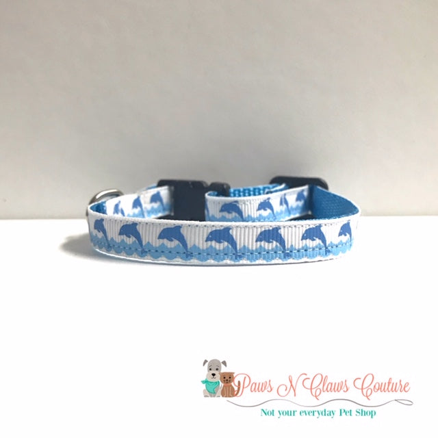 "3/8"" Dolphin in Waves Cat or Small Dog Collar - Paws N Claws Couture"
