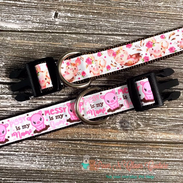 "1"" Pastel Pigs or Messy is my Name Dog Collar - Paws N Claws Couture"