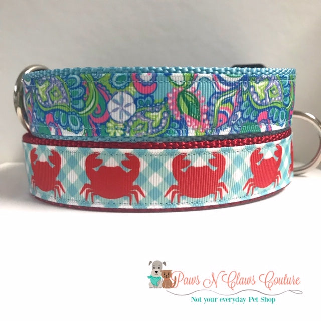 "1"" Conch Shells or Preppy Crab Dog Collar"