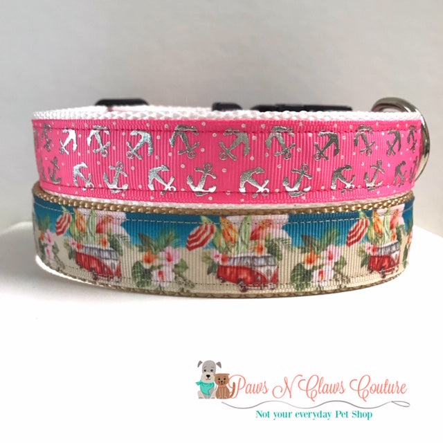 "1"" Anchors or Beach Day Dog Collar"