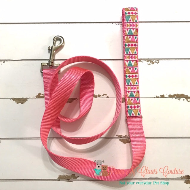 "1"" Aztec Dog Collar, Leash Available - Paws N Claws Couture"