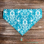 Damask on Teal Bandana - Paws N Claws Couture