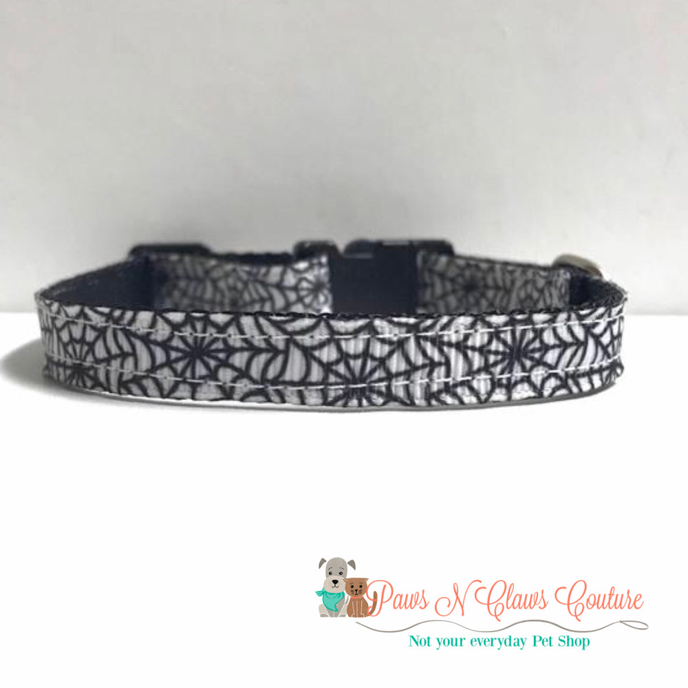 "3/8"" Spiderwebs on White Cat or Small Dog Collar"