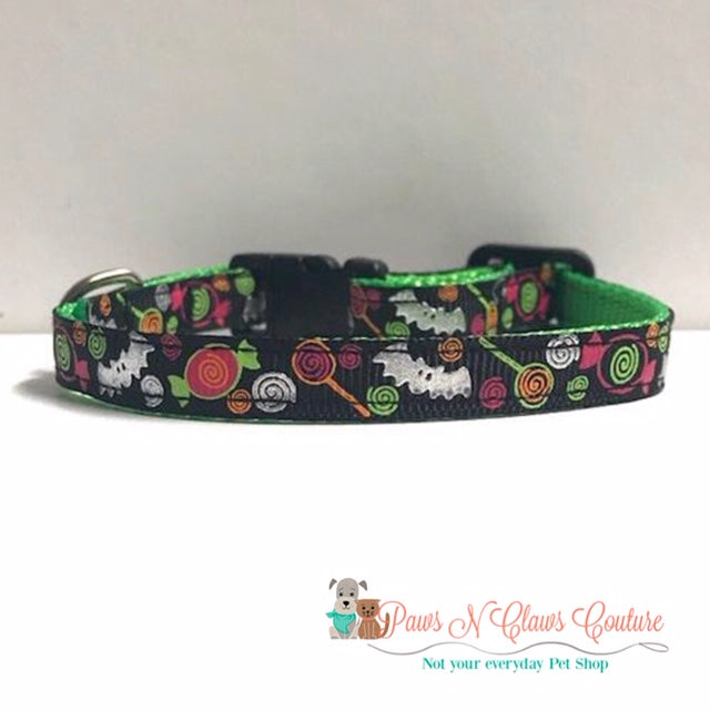 "3/8"" Halloween Candy & Bats Cat or Small Dog Collar"