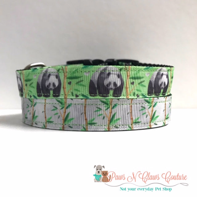 "5/8"" Panda or Bamboo Dog Collar, Leash Available"