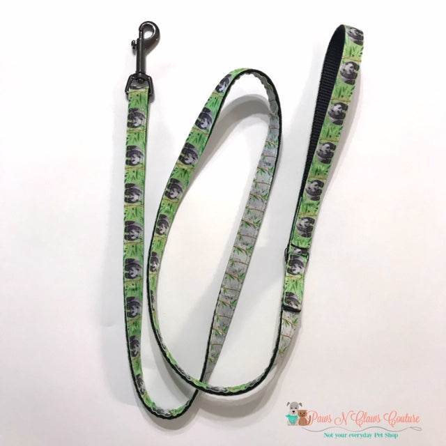 "5/8"" Panda or Bamboo Dog Collar, Leash Available - Paws N Claws Couture"