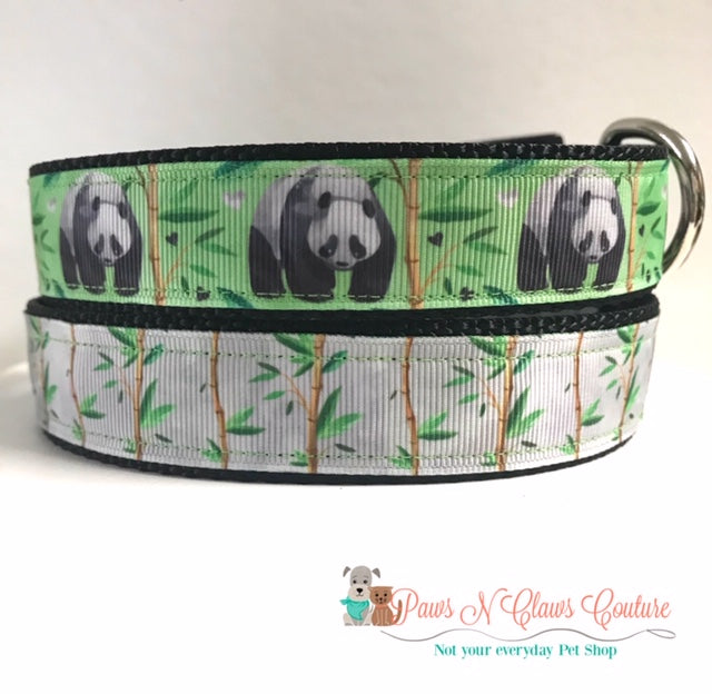 "1"" Panda or Bamboo Dog Collar, Leash Available"