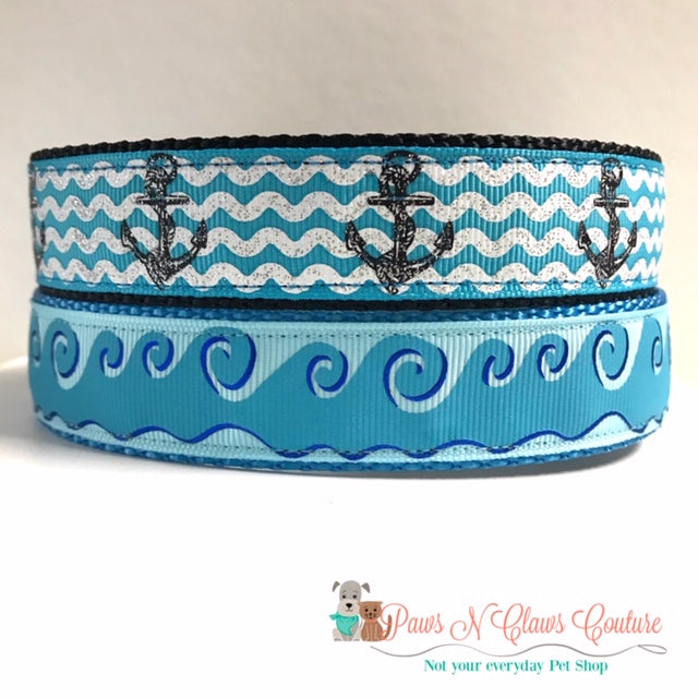 "1"" Waves or Anchors Dog Collar - Paws N Claws Couture"