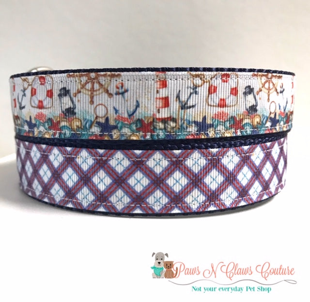 "1"" Nautical Plaid or Beach Lighthouses Dog Collar - Paws N Claws Couture"
