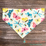 Reversible Pastel Butterflies, Bees and Dragonflies Bandana - Paws N Claws Couture