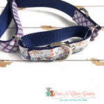"1"" Nautical Plaid Martingale Dog Collar, Leash Available"