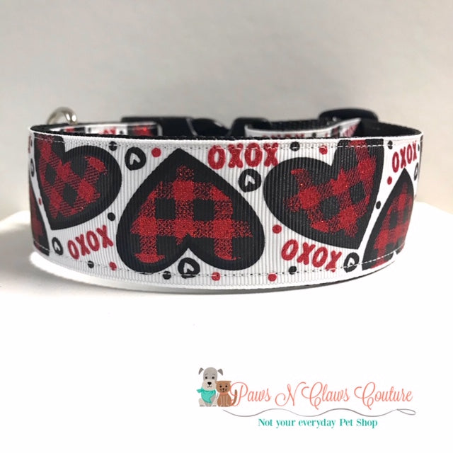 "1.5"" XOXO Plaid Hearts Dog Collar - Paws N Claws Couture"