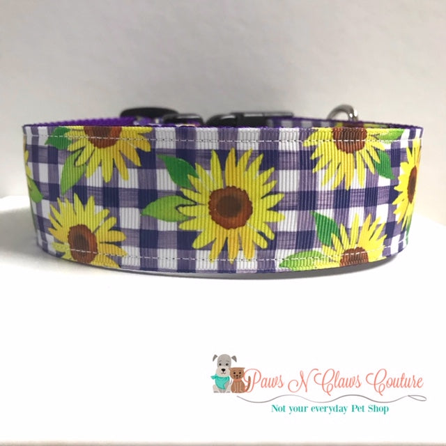 "1.5"" Purple Plaid and Sunflowers Dog Collar"