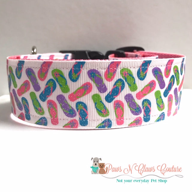 "1.5"" Flip Flops Dog Collar - Paws N Claws Couture"