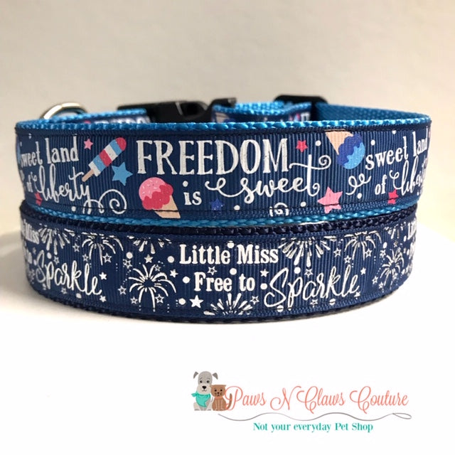 "1"" Freedom is Sweet of Little Miss Free to SparkleDog Collar - Paws N Claws Couture"