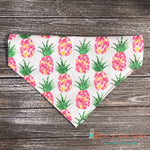 Reversible Pink Pineapples and Leaves Bandana