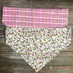 Reversible Plaid and Roses Bandana - Paws N Claws Couture