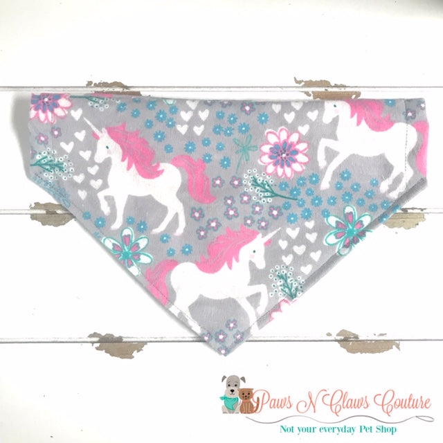 Unicorn and Flowers Bandana - Paws N Claws Couture