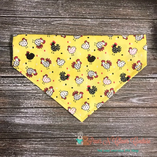 Chickens on Yellow Bandana - Paws N Claws Couture