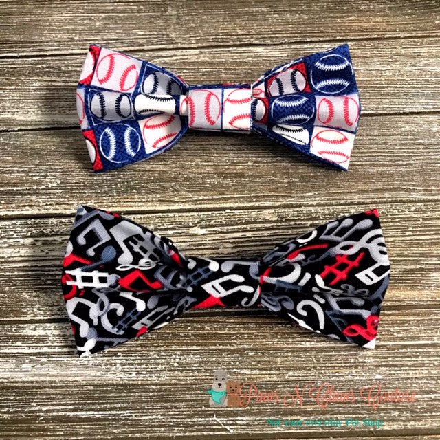 Baseball or Music Notes Bow Ties