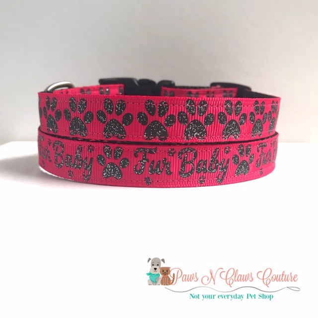 "5/8"" Furbaby or Paws on Pink Dog Collar"