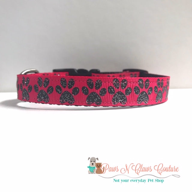 "5/8"" Furbaby or Paws on Pink Dog Collar - Paws N Claws Couture"