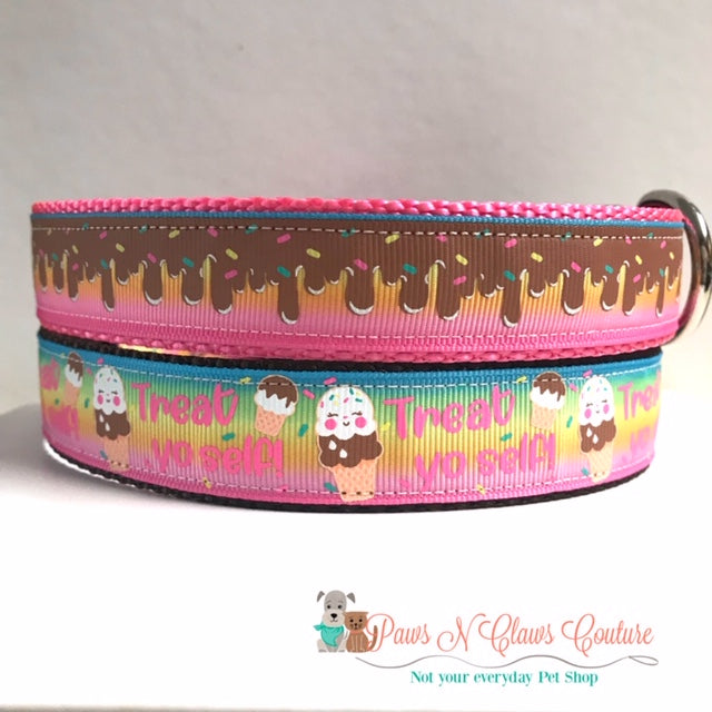 "1"" Ice cream or Treat yo self Dog Collar"