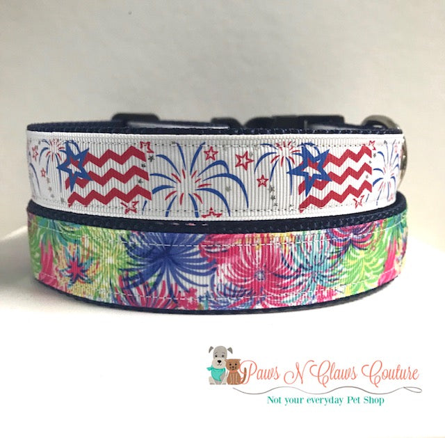 "1"" Chevron Flags or Fireworks Dog Collar"