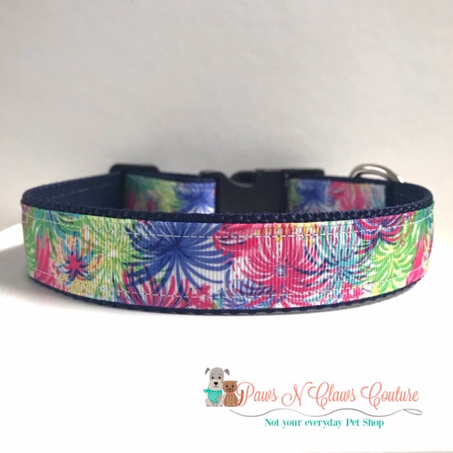 "1"" Chevron Flags or Fireworks Dog Collar - Paws N Claws Couture"