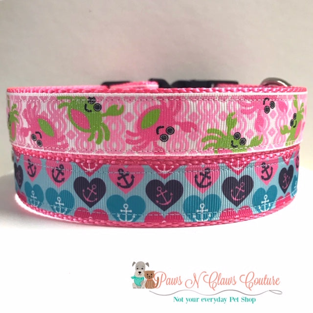 "1"" Crabs on Pink or Anchors in Hearts Dog Collar"